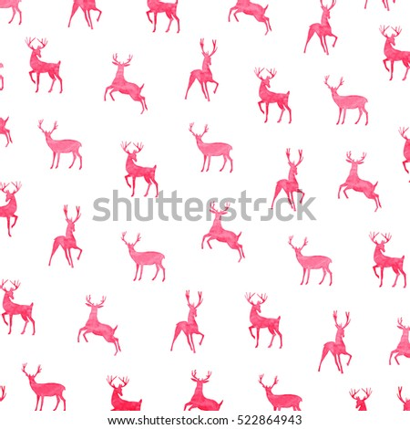 Hand draw watercolor reindeer pattern. Design illustration winter background red color print