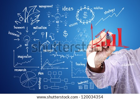 hand drawing a chart writing business idea concept - stock photo