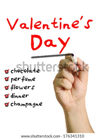 Hand drawing a checklist with a marker on screen for Valentine's Day - stock photo