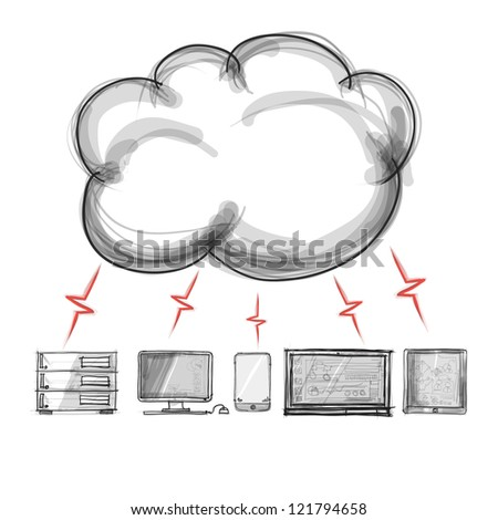 hand drawing a Cloud Computing diagram on the new computer interface - stock photo