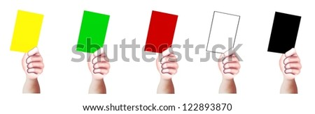 Hand Drawing, A Hands of Person Holding A Card of Yellow, Green, Red, White and Black with Copy Space for Add Content or Picture - stock photo