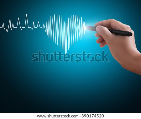 hand drawing a heart marker