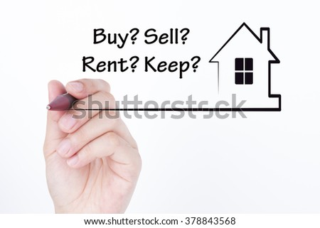 Hand drawing a house with word buy rent sell keep, financial and real estate concept - stock photo