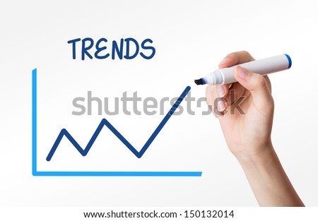 Hand drawing a trends graph on a virtual screen - stock photo