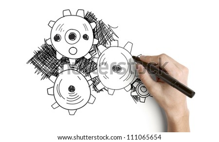 hand drawing abstract gears on a white background - stock photo