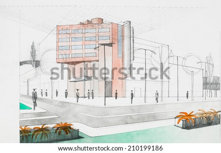 Modern Architecture Perspective hand drawing architectural perspective modern building stock