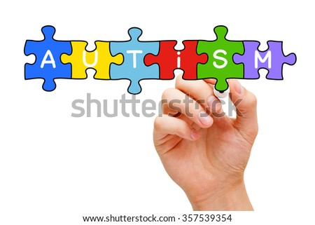 Hand drawing Autism puzzle concept. - stock photo