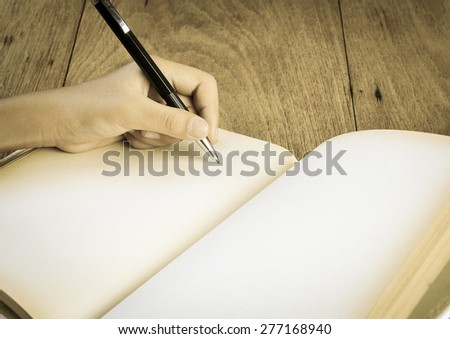 Hand  drawing blank book , concept design - stock photo