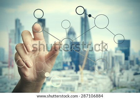 hand drawing blank flow chart on new modern computer and london city blurred background as concept   - stock photo