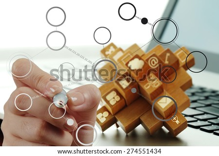 hand drawing blank flow chart on new modern computer as concept - stock photo