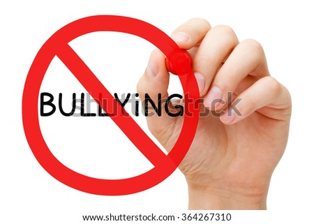 Hand drawing Bullying prohibition sign concept with red marker on transparent wipe board.  - stock photo