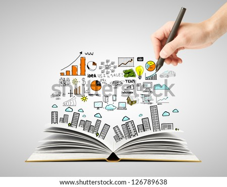 hand drawing business concept and open book - stock photo