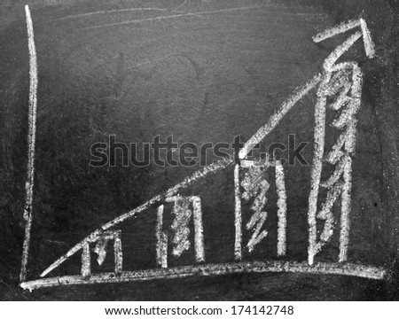 hand drawing business graph blackboard