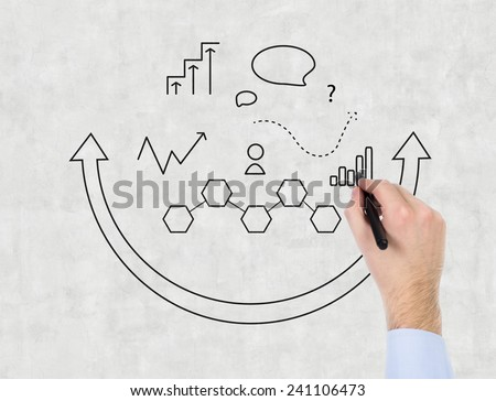 hand drawing business icon on gray wall