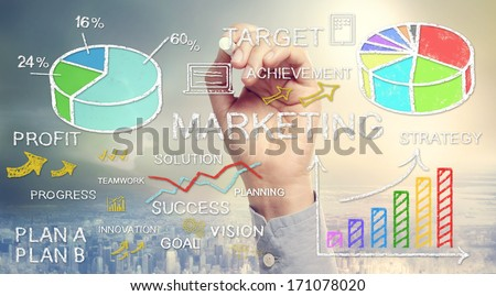 Hand drawing business marketing concepts with chalk - stock photo