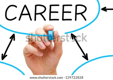 Hand drawing Career flow chart with blue marker on transparent wipe board. - stock photo
