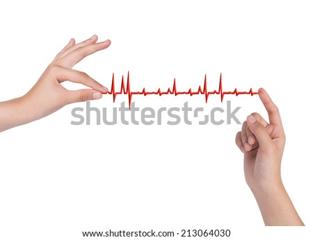 hand drawing chart electrocardiogram (ECG) of ratio heartbeat on virtual screen concept for medical diagnosis