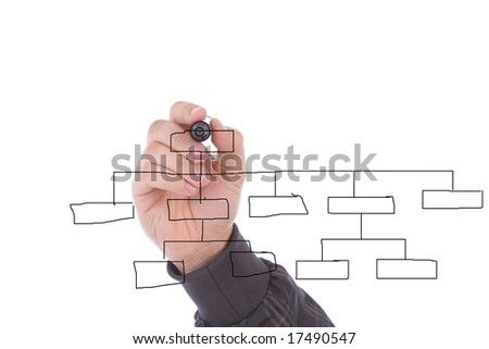 Hand drawing chart in whiteboard, isolated on white