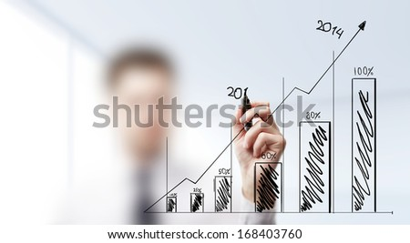 hand drawing chart on a blue background - stock photo