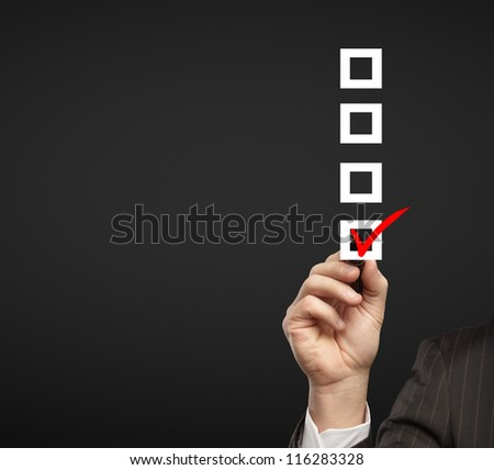 hand drawing check box on a black background - stock photo