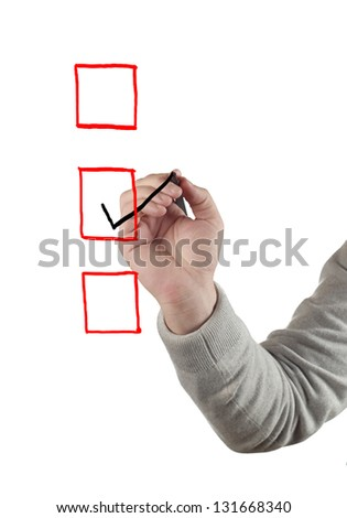 Hand drawing Checkbox. Isolated on white. - stock photo