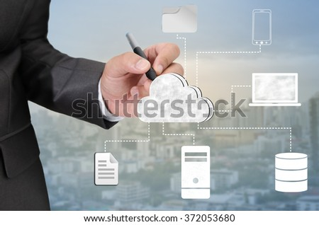 Hand drawing Cloud computing technology concept