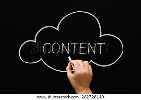 Hand drawing Content cloud concept with white chalk on a blackboard. - stock photo