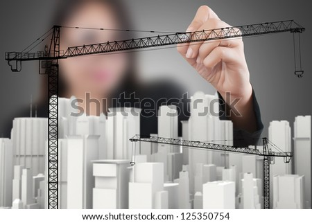 Hand drawing Crane line for Construction concept. - stock photo