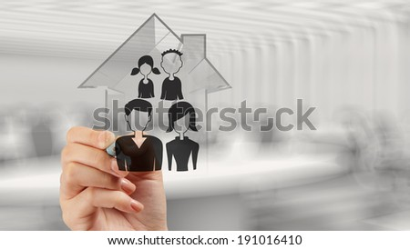 hand drawing 3d house with family icon as insurance concept  - stock photo