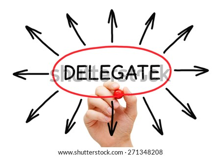 Hand drawing Delegate concept with marker on transparent wipe board isolated on white. - stock photo