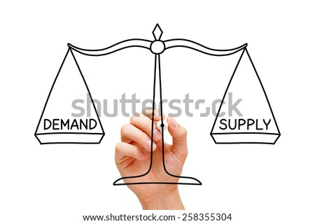 Hand drawing Demand Supply scale concept with black marker on transparent wipe board isolated on white. - stock photo