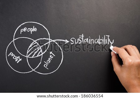 Hand drawing diagram of people, planet, profit to explain the intersection of Sustainable Development concept - stock photo