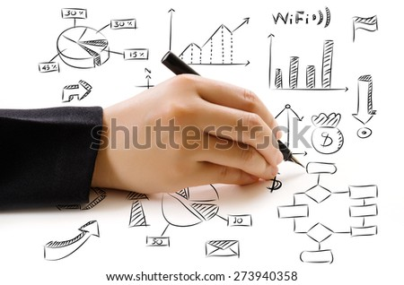 Hand drawing doodle finance icon for business and technology concept. - stock photo