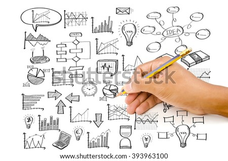 Hand drawing doodle finance icon for business and technology concept.