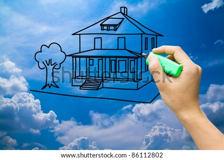 hand drawing dream home on blue sky - stock photo