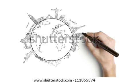 hand drawing earth on a white background - stock photo
