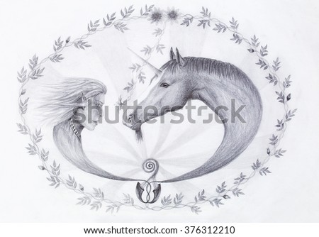 Hand drawing Elf and unicorn with beautiful flower. Draw on vintage paper. Profile portrait. - stock photo