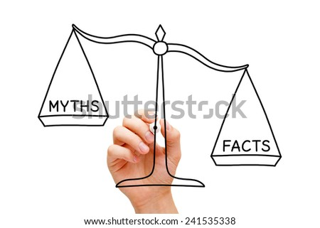 Hand drawing Facts Myths scale concept with black marker on transparent wipe board isolated on white. - stock photo