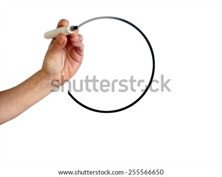 Hand drawing fading circle with black marker on transparent whiteboard - stock photo