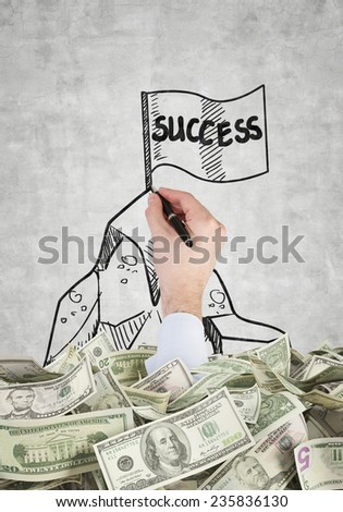 hand drawing flag with success and dollars - stock photo