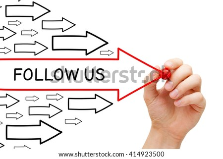 Hand drawing Follow Us arrows concept with marker on transparent wipe board.  - stock photo
