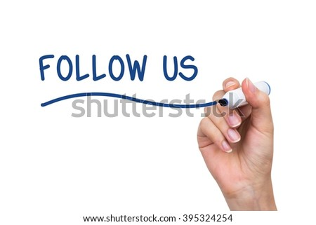 Hand drawing Follow Us words. Social media conception on virtual whiteboard - stock photo