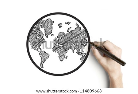 hand drawing globe on a white background - stock photo