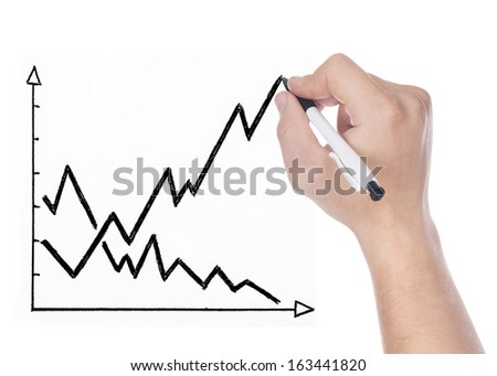Hand drawing graph isolated on white background - stock photo