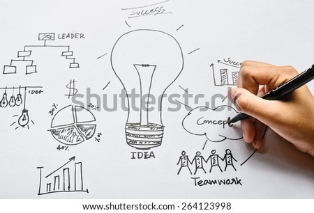Hand drawing graphics on white paper - stock photo