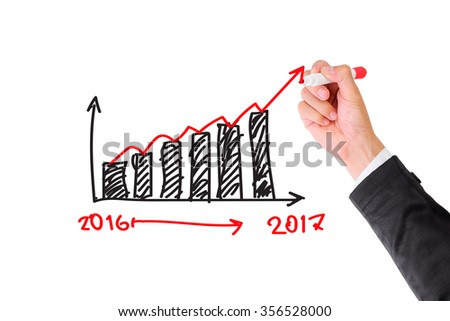 Hand drawing Growth Graph for year 2016-2017 with marker on transparent wipe board. - stock photo