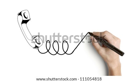 hand drawing handset on a white background - stock photo