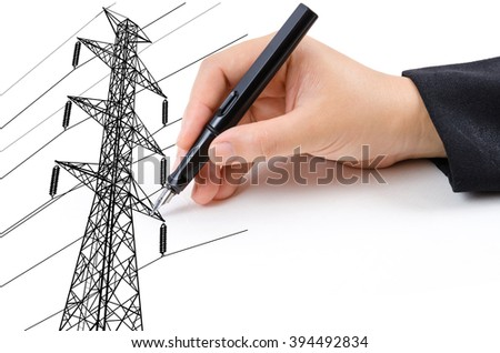 Hand Drawing High voltage power pole line for construction concept.