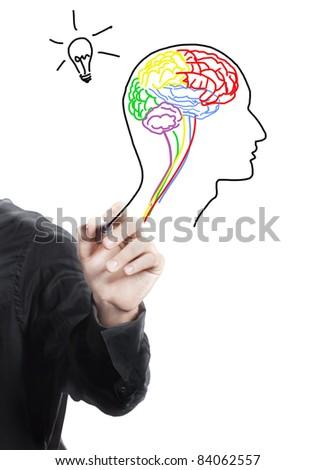 Hand drawing human brain ,thinking of new idea - stock photo