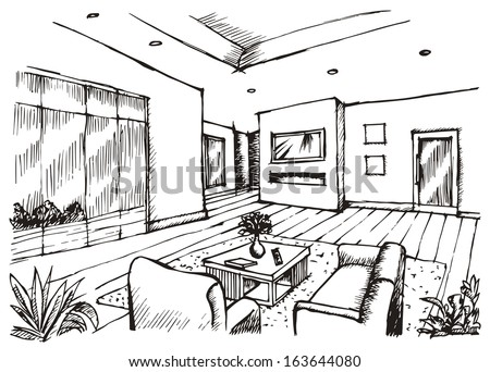 Hand Drawing Interior Design For Living Room Raster Image Stock